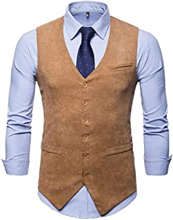M&S&W Men Single Breasted Business Dress Waistcoat Sleeveless Suit Vests