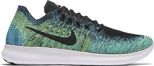 Nike Men's Free RN Flyknit 2017 Running Shoe BLACK/BLACK-VOLT-CHLORINE BLUE