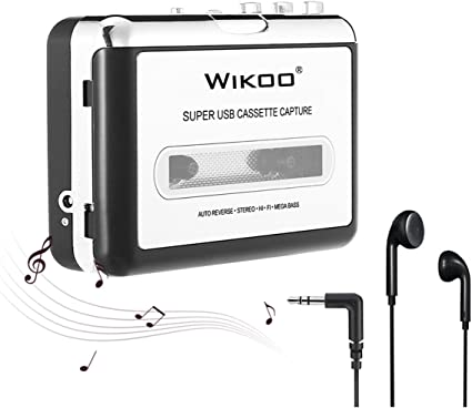 IKEDON Walkman Cassette Player Captures MP3 Audio Music Via USB Tape Player with Headphones for Laptop /& PC Cassette Player