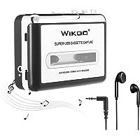 Wikoo Cassette Tape to MP3/CD Converter, Portable USB Cassette Tape Player Walkman Captures MP3 Audio Music, Compatible with MAC/PC/Laptop, Convert Tape Cassette to MP3 Format via USB
