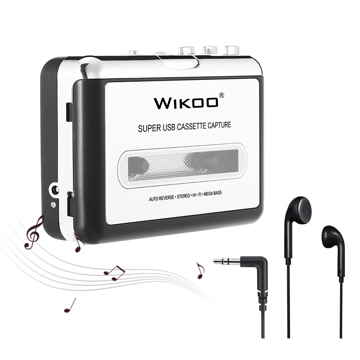Wikoo Cassette Tape to MP3 CD Converter via USB,Portable USB Cassette Tape Player Walkman Captures MP3 Audio Music -Compatible with Laptops and PC,Convert Tape Cassettes to MP3 Format