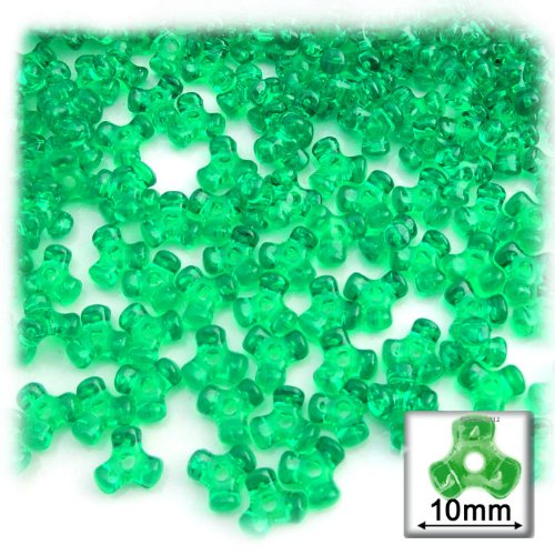 - The Crafts Outlet 200-Piece Plastic Transparent Tri Beads, 10mm, Light Green