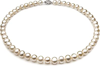Mia Diamonds 14k Yellow Gold Gold 7-8mm White Egg Shape Fresh Water Cultured Pearl Necklace