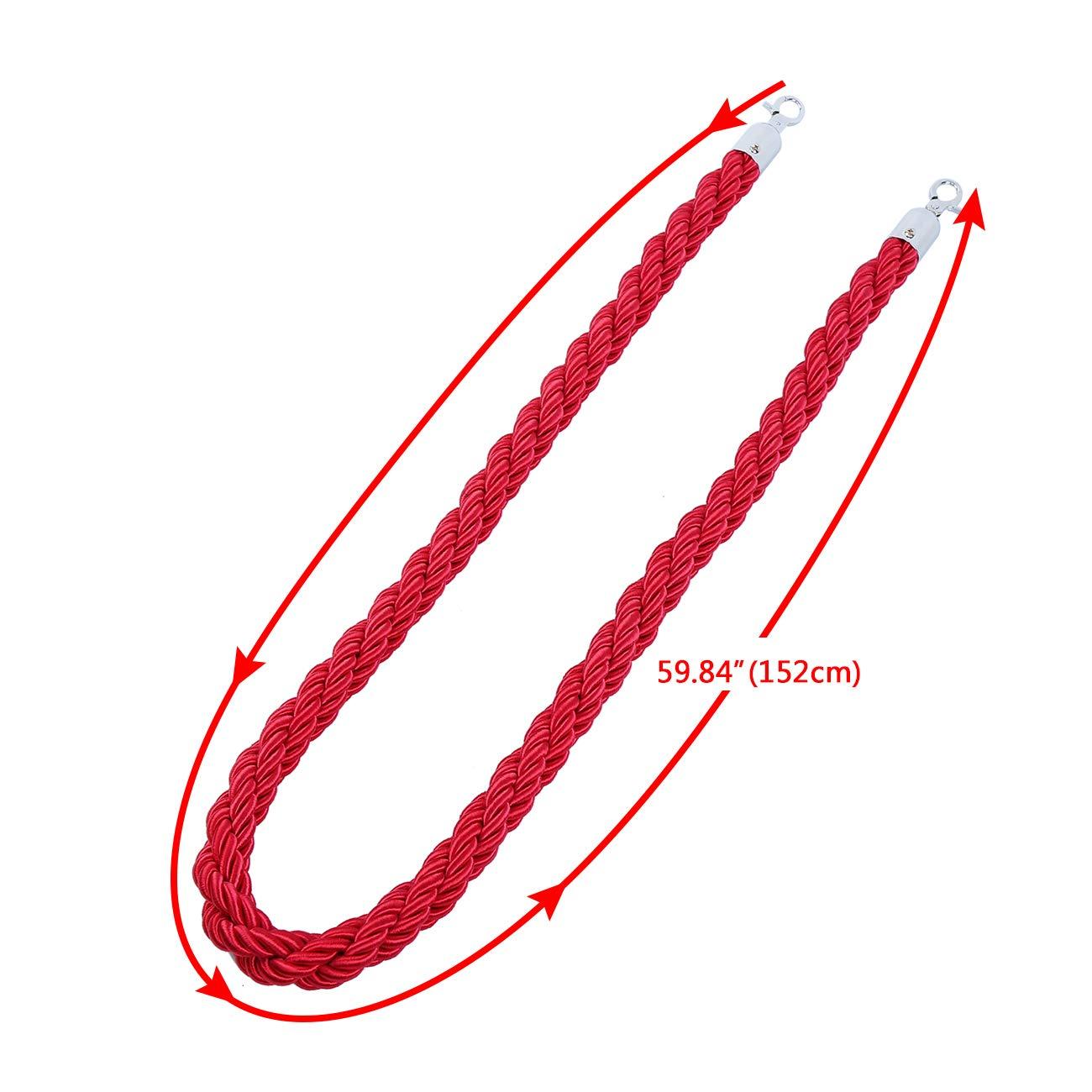 Samger 155cm Barrier Rope Queue Divider Crowd Control Stanchion Line with Hooks Black