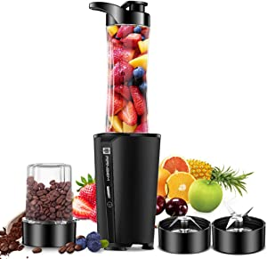 Bullet Blender for smoothies and shakes ,blender for kitchen with 20oz Blender Bottle and Lid, 6oz Grinding Coffee/Spices Cup, Single Sever Blender Black 300W