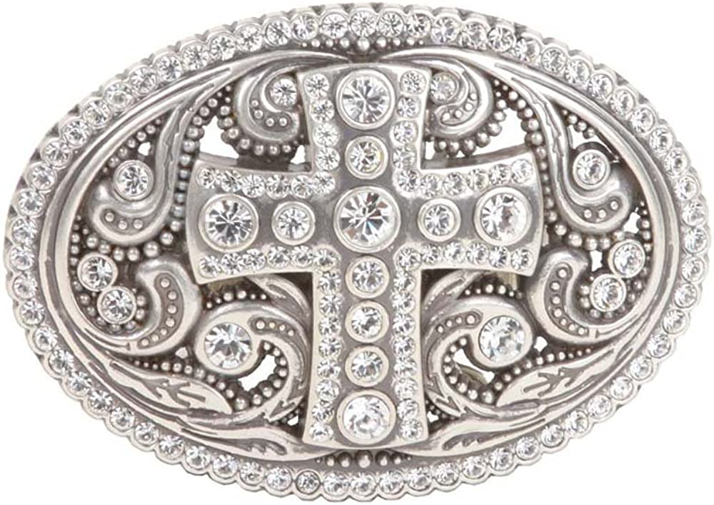 Perforated Oval Rhinestone Religious Cross & Flower Engraving Belt Buckle: Clothing
