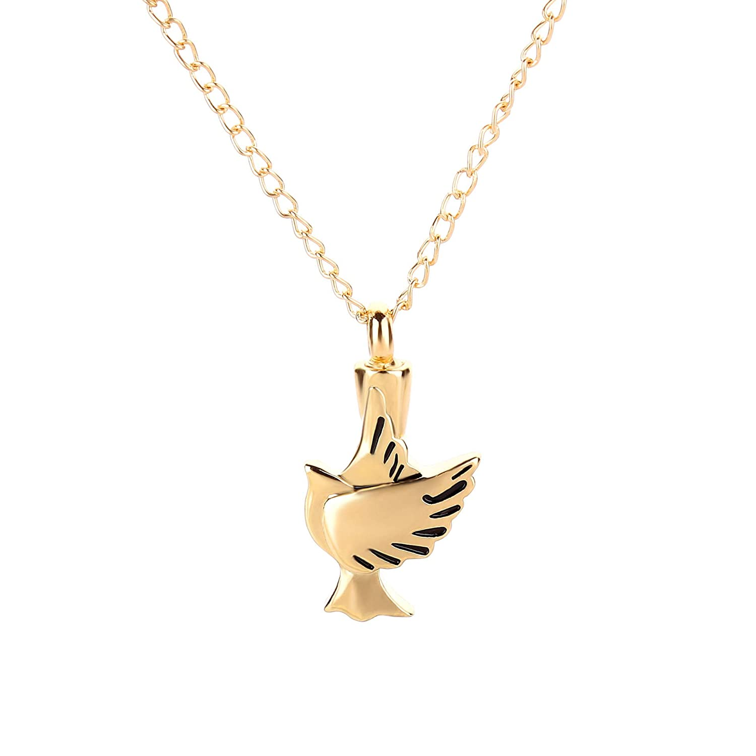Stainless Steel Bird Wings Pet Coffin Commemorative Pendant Animal Coffin Necklace