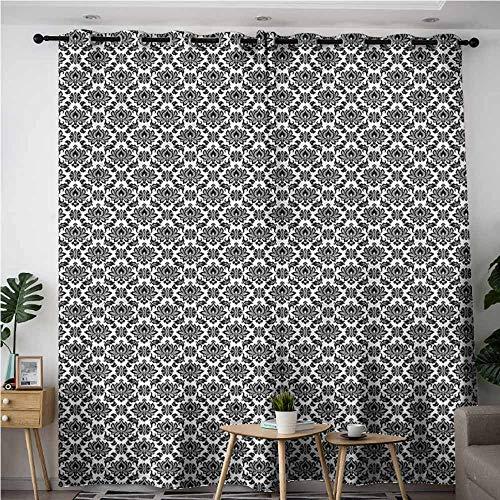 (BE.SUN Grommet Window Curtains,Black and White,Venetian Scroll,Blackout Window Curtain 2 Panel,W72x84L)