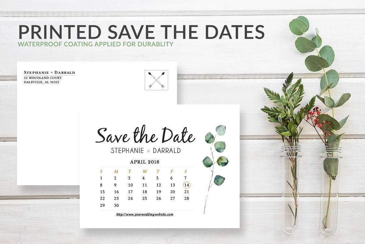 Personalized Engagement Announcement Rustic Greenery Save the Date Calendar Postcards for Weddings Save the Date Wedding Invitations Double Sided Waterproof Cards
