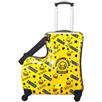 Portable children's travel thickening trolley case,Unisex Travel Tots Kids luggage (Yellow duck, 20)
