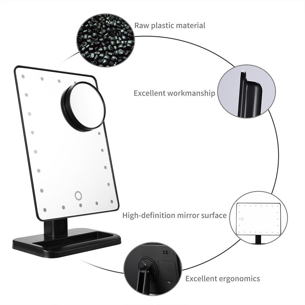 22 LED Light Makeup Mirror Touch Screen 10X Magnification Tabletop Vanity Mirror