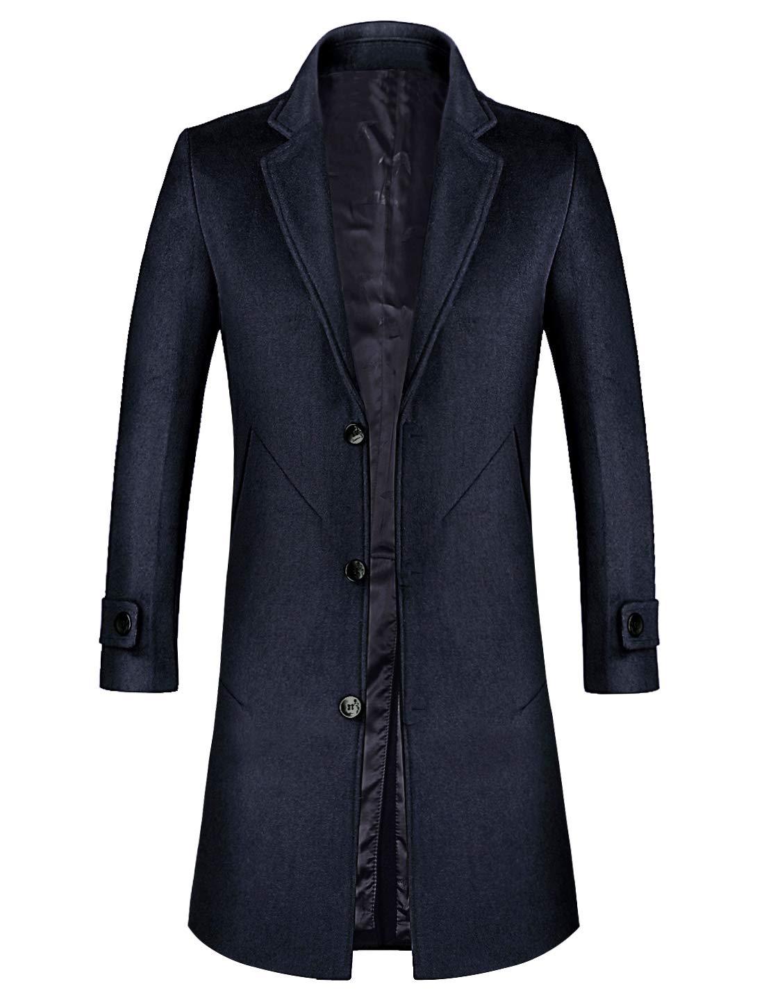zeetoo Men's Wool Trench Coat Winter Slim Fit Wool Jacket Long Peacoat Overcoat Blue-Black Medium by zeetoo
