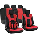 OxGord H Stripe Universal Fit Airbag Compatible 17pc Seat Covers (Red Black)