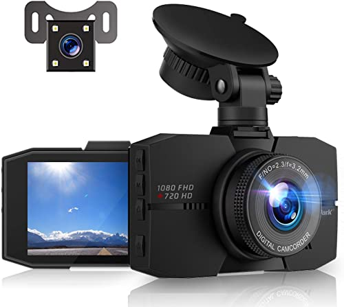 Campark Dash Cam Front and Rear Full HD Dual Dashboard Camera for Cars with 3 Inches Screen Night Vision 170 Wide Angle G-Sensor Loop Recording Parking Mode
