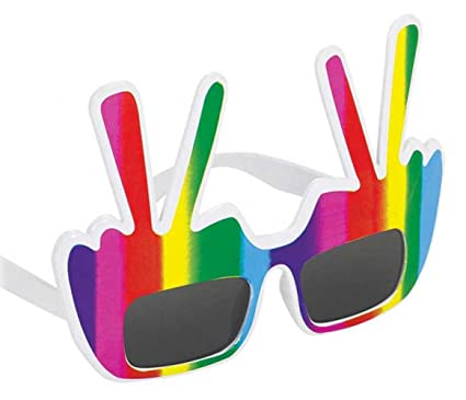 Amazon Groovy 60s Party Hippie Peace Symbol Glasses Accessory
