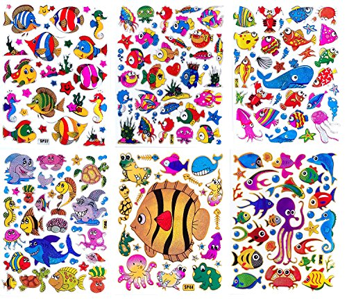 Fish001 - 6 Sheets of Scrapbook Stickers Fish, Fish Scrapbook Stickers, Farm Animal Stickers - Animal Scrapbook Stickers - Reflective Stickers - Animal Stickers for Kids - Size 4 X 5.25 Inch./sheet