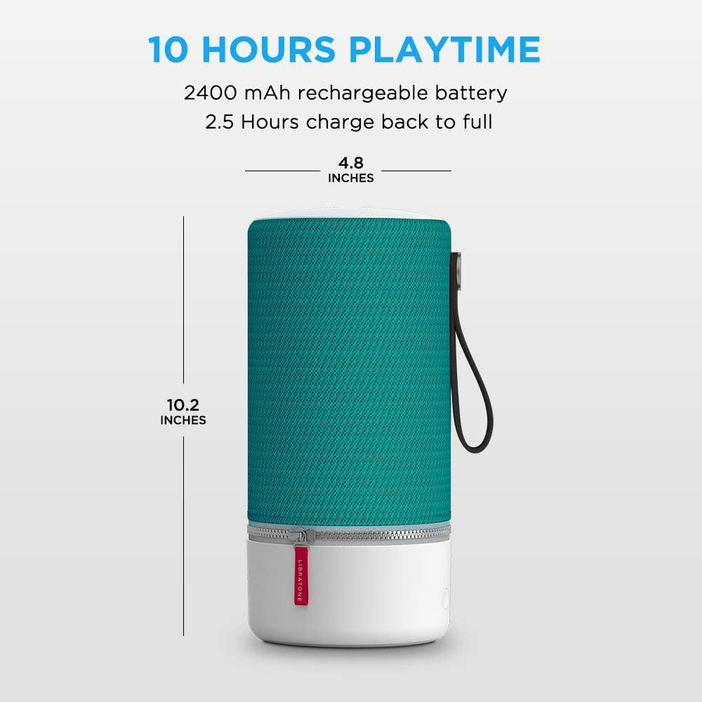 Work with Alexa Airplay2 and Spotify connect 360/° Loud Stereo Sound with Dual Mic Build-in Nordic Black 12 Hour Playtime 15W Woofer Deep Bass Libratone Zipp Wifi Bluetooth Smart Speaker