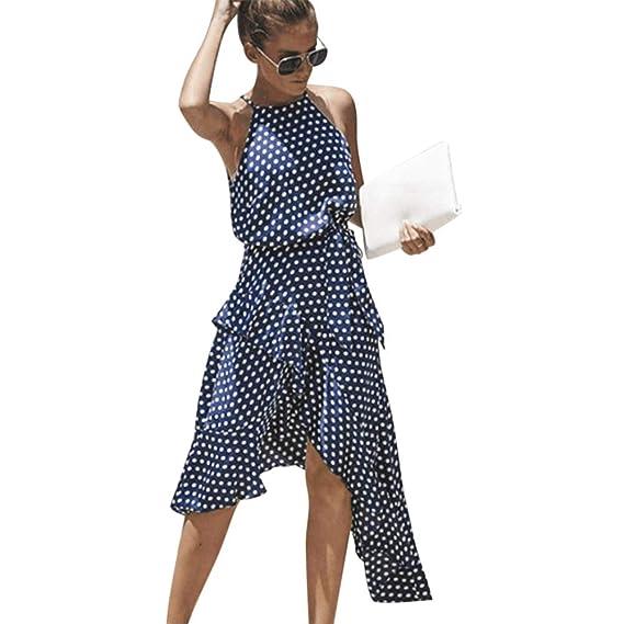b12a80a05 Vestido Mujer Verano 2019 Vestido Estampado De Lunares De Gasa De Verano  para Mujer Falda Corta con Volante Irregular Vestido