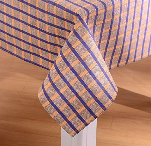 Warm Home Designs 60 x 120 inch Cotton Tablecloth with Matte Finish. Spill and Stain Resistant. Seats 10 to 12 People. Orange Purple Stripes - Orange Matte Finish
