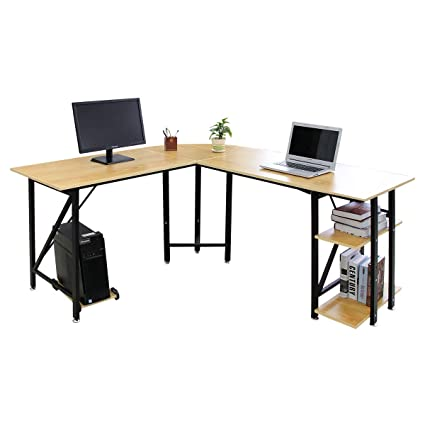 Bizzoelife Large Corner Desk L Shaped Computer Desk Gaming Laptop Table  67u0026quot; + 59u201d