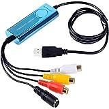 Top-Loger VHS su DVD Scheda di acquisizione video USB 2.0 - S-Video / Cavo di trasferimento da RGB a USB - Video Capture per Mac OS e Windows 10 -Blu