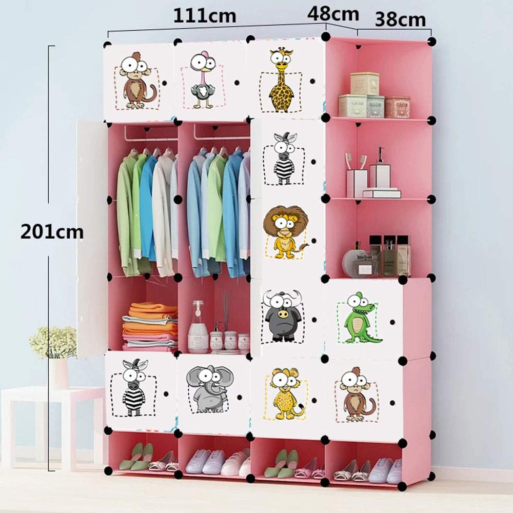 PPKQ Combination Armoire Simple Space Saving Floor Folding Hanger Multi-Layer Portable Non-Woven for Hanging Clothes, Books, Toys (Size : 201x149x48) by PPKQ