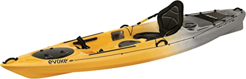 EVOKE Navigator 120 Sit On Angler Kayak, Storm, Yellow Gray White