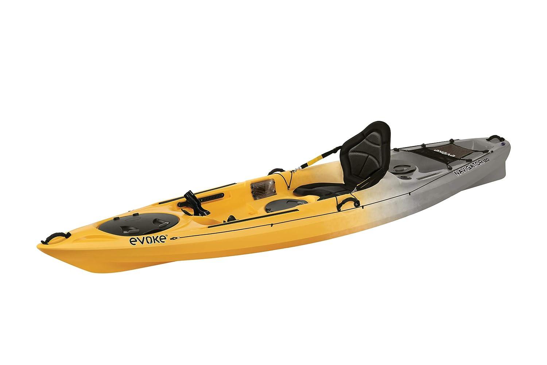 EVOKE Navigator 120 Sit On Angler Kayak, Storm, Yellow Gray White