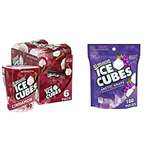 Ice Breakers Ice Cubes Sugar Free Gum with Xylitol, Cinnamon, 40 Count, Pack of 6 & Ice Cubes Gum, Arctic Grape, Sugar Free with Xylitol, 100 pieces, 8.11 Ounce (1 Bag)