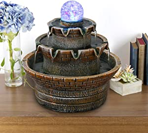 DOMICA 360° Full Perspective Spinning Orb Tabletop Fountain , Relaxation Desktop Fountain with LED Light, Zen Meditation Indoor Waterfall Feature, for Give Gifts, Home, Bedroom or Office