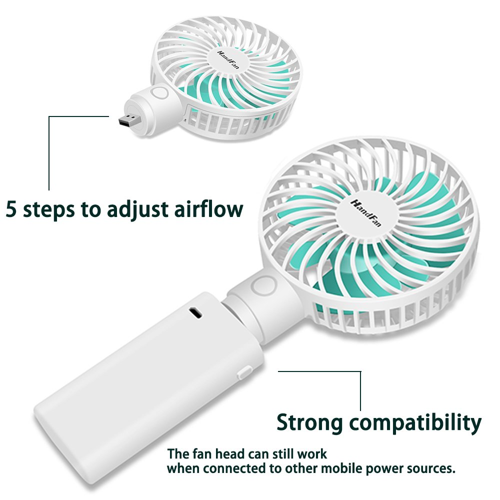 HandFan Portable Desk Fan, Rechargeable Handheld Fan with Charging Base USB/Battery Operated Fan 5 Speeds Mini Personal Fan Removed Handle has Mobile Power Function(Desk White)