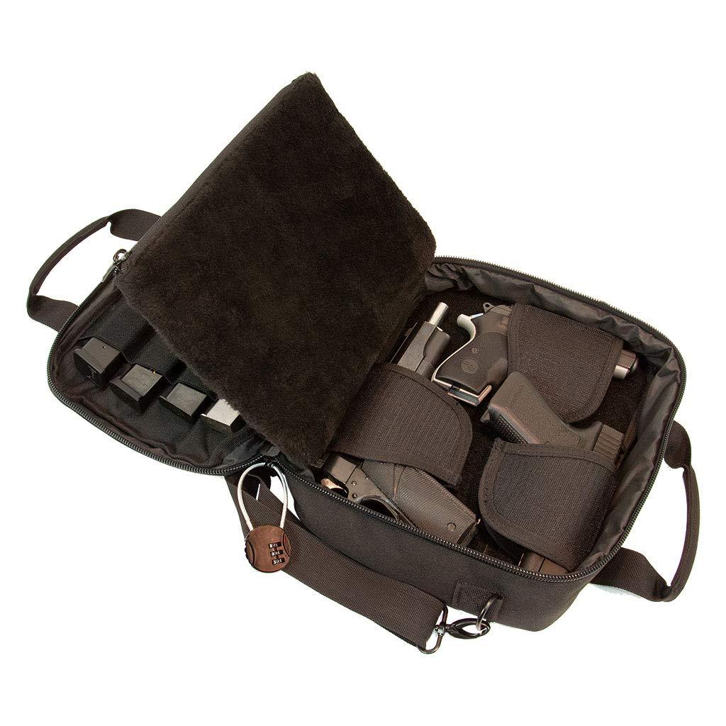 Pistol Case Range Bag for Handguns by FirstChoice Gear - 2 to 4 Gun Padded Tactical Handgun Shooting Soft Case, Lockable Zippers w/Padlock, 3 Mini-Holsters, 8 Mag Slots, 4 Pockets, Range Mat (Black) by First Choice Gear