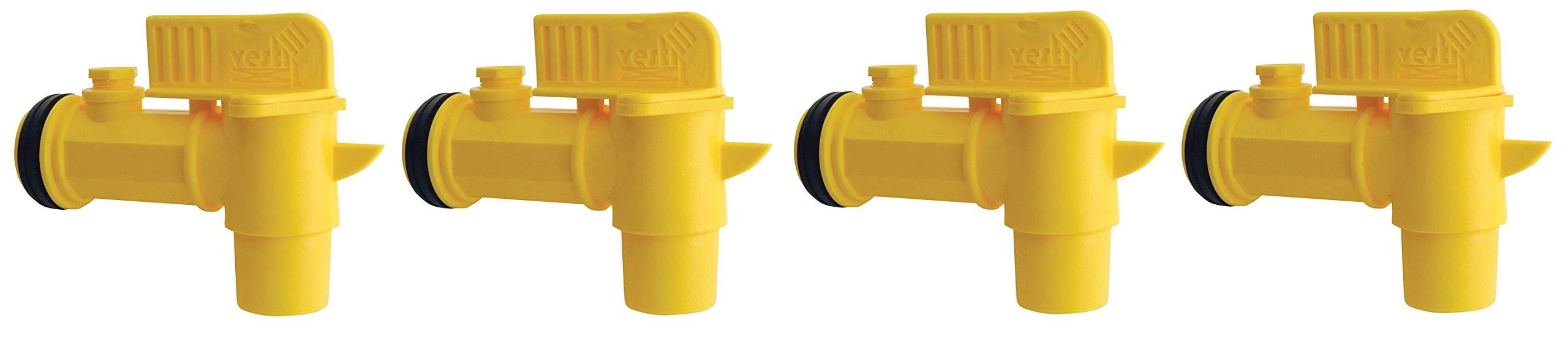 Vestil JDFT Plastic Manual Handle Jumbo Drum Faucet, Fits 2'' Drum Openings (Fоur Расk)