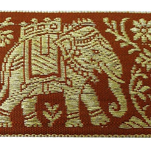 Red Elephant Pattern Trim Sari Border Jacquard Ribbon 4.0 Cm Wide Trim By The Yard (Borders Fabric Red)