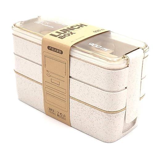 Caja Bento a prueba de fugas con palillos y cuchara, 3 niveles 4 ...
