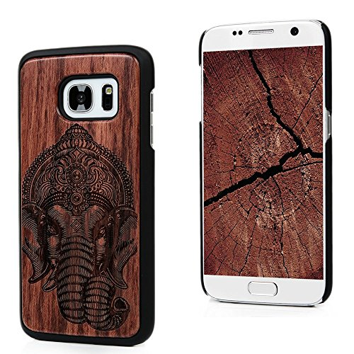 S7 Case,Samsung Galaxy S7 Case (Non-Edge) - Mavis's Diary Handmade Wooden Case Shockproof Natural Wood [Light Weight] Slim Durable Cover with Hard PC Bumper - Cool Elephant with Headwear