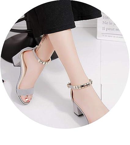 769d03ae7931 Amazon.com  HANBINGPO Metal String Bead Summer Women Sandals Open Toe Shoes  Women s Sandles Square Heel Women Shoes Korean Style Gladiator Shoes  m668