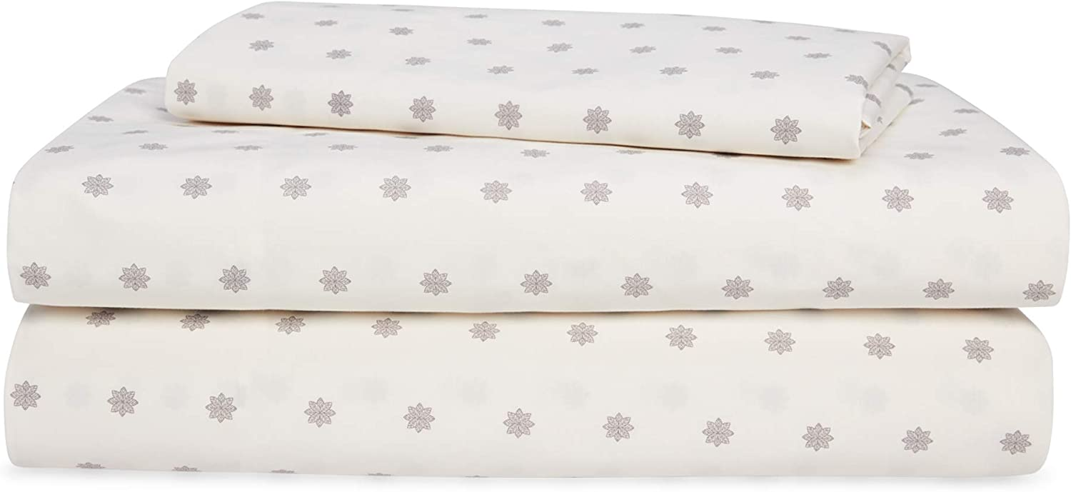 Chaps Home Fairhaven Floral 60% Cotton/40% Poly Printed Sheets-200 Thread Count Bed Sheet Set-15 Inches Deep Pocket (Queen), Queen, Cream