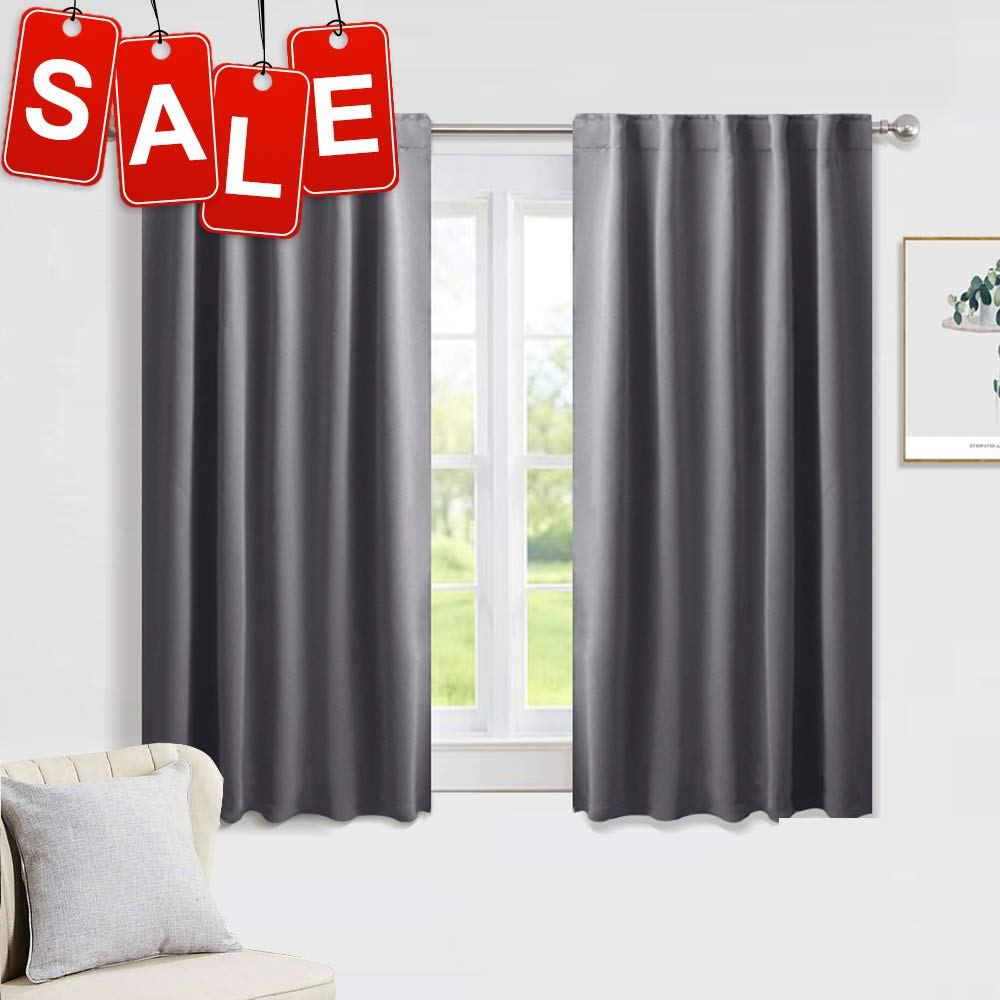"""PONY DANCE Gray Blackout Curtains - Window Curtain Treatments Thermal Insulated Light Blocking Drapes Back Tab/Rod Pocket Short Curtain Panels for Bedroom & Kitchen, 42"""" W x 45"""" L, Grey, 1 Pair"""