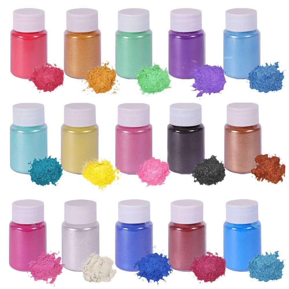 Biutee Mica Powder Slime Powder Pearlescent Soap Making dye Food Grade Skin Safe Resin Dye for Soap Making/Bath Bomb/Resin Jewelry/Nail Art/Eyeshadow DIY/Candle Making (15 Colors)