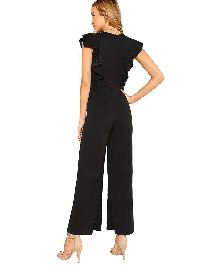 f25851463c7 Amazon.com  Romwe Women s Sexy Casual Sleeveless Ruffle Trim Wide Leg High  Waist Long Jumpsuit  Clothing