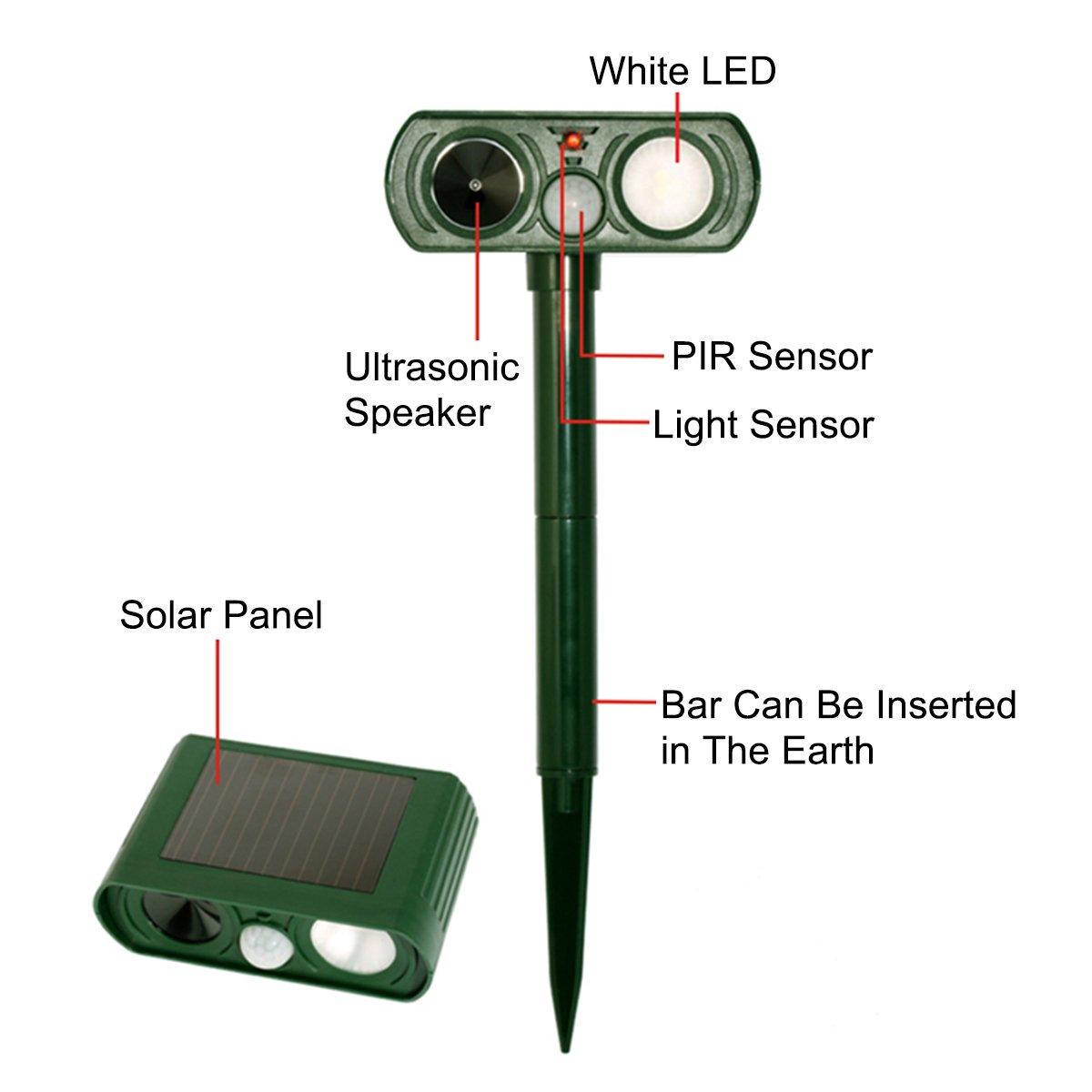 Ahuyentador de animales solar, creación de movimiento al aire libre Senso ultrasónico animal Ahuyentador sensor PIR asustar perro gato ciervo ardilla conejo ...