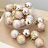 OVERMAL 24 Balls Wreath Door Wall Ornament Christmas Multi-Color Balls Baubles Party Xmas Tree Decorations Toppers Hanging Ornament Decor (Khaki)