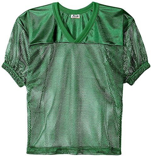 (Adams Youth Football Jerseys, Porthole Mesh Practice Jersey with Dazzle Shoulders and Elastic Sleeves, Kelly Green, Large)