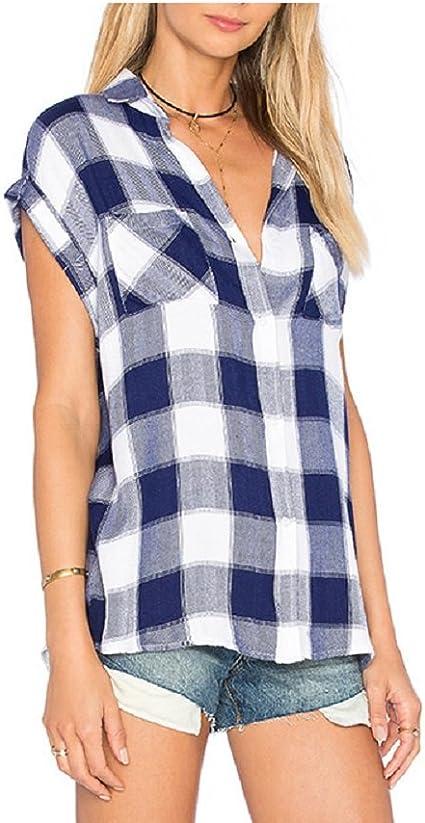 SYGoodBUY Blusa para Mujer Camisa de Verano Patrón de Rejilla Tops Blusas para Mujer Camiseta con Cuello en V Suelta Túnica de Manga Corta (Color : Azul, Tamaño : S): Amazon.es: Ropa