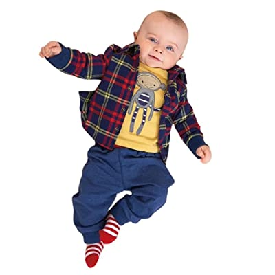 b20a213d6 Sagton Newborn Baby Boy Clothes Sets Fall Plaid Coat + Pants + ...