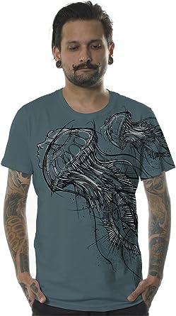 Street Habit Camiseta Skate Azul Turquesa Serigrafiada con diseño Medusa - Ropa de Festival para Hombre, Talla S: Amazon.es: Ropa y accesorios