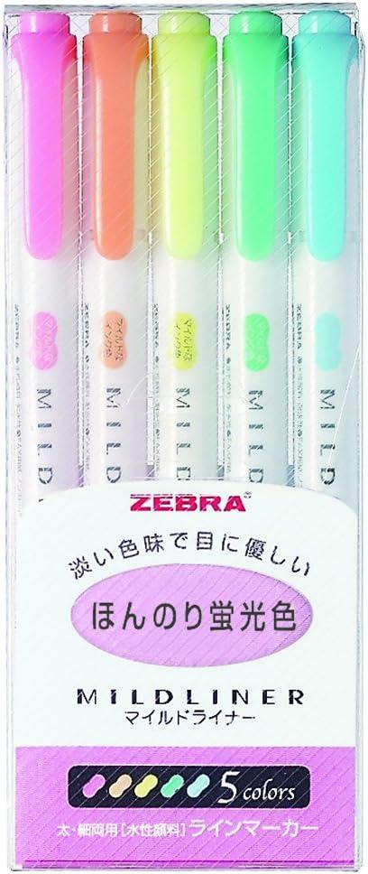 Zebra Mildliner - Pack de 5 rotuladores permanentes, multicolor: Amazon.es: Oficina y papelería