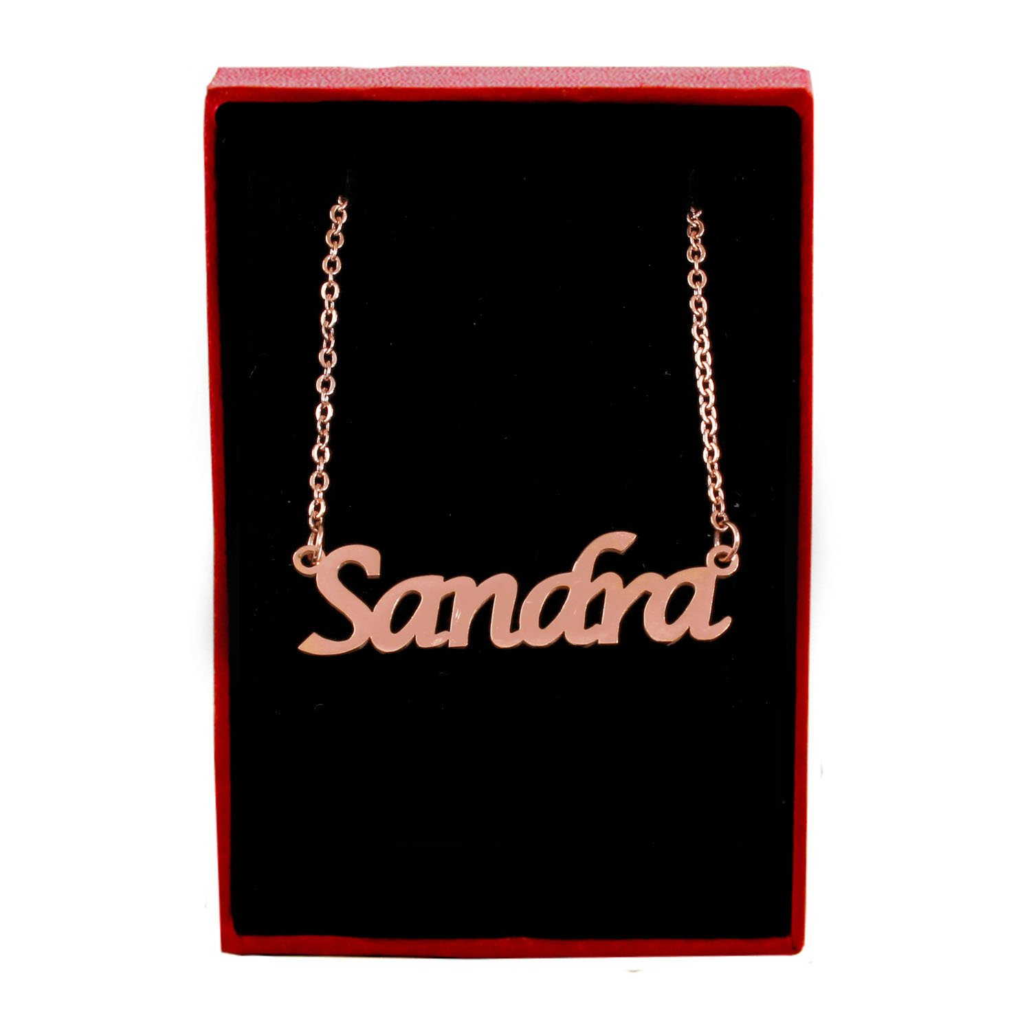 18ct Rose Gold Plated Zacria Sandra Name Necklace