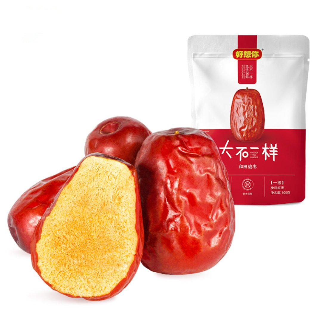 Xinjiang Specialty: Haoxiangni Super Grade Chinese Red Dates Natural Jujube As Office Snacks or Gifts 500g/17.6oz/1.1lb